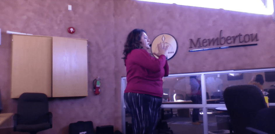 <small> Janean Marshall of Mi'kmaw Kina'matnewey lead a Yoga & Meditation session during the Indigenous Women in Business Virtual Conference